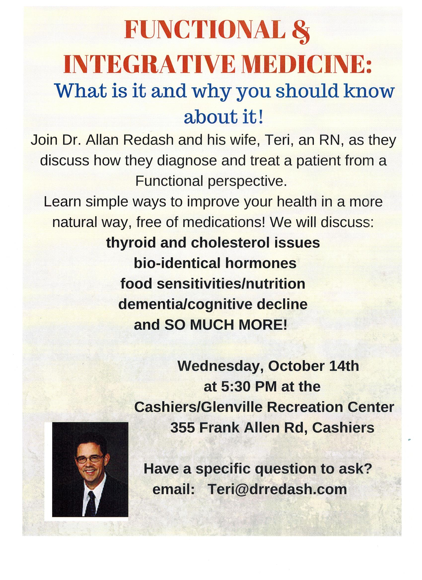 Free Lecture on Integrative & Functional Medicine, 10/14/15
